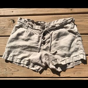 JOIE Beige Linen Shorts with Wood Buttons